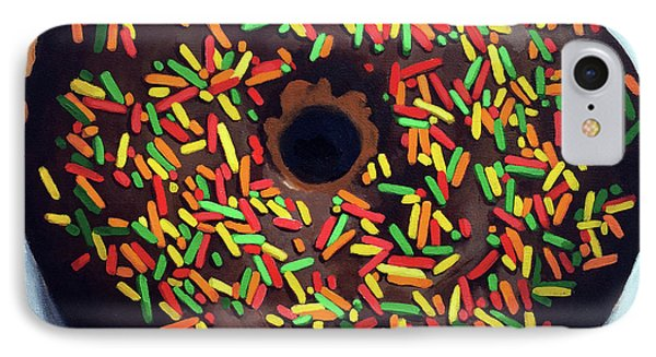 IPhone Case featuring the painting Chocolate Donut And Sprinkles Large Painting by Linda Apple