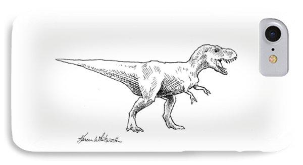 Tyrannosaurus Rex Dinosaur T-rex Ink Drawing Illustration IPhone Case by Karen Whitworth