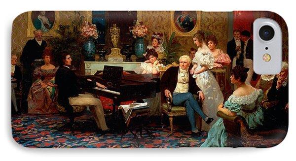 Chopin Playing The Piano In Prince Radziwills Salon Phone Case by Hendrik Siemiradzki