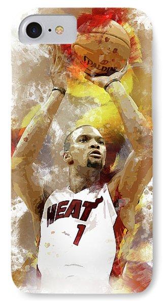 Chris Bosh Miami Heat IPhone Case by Afrio Adistira