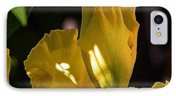 IPhone Case featuring the digital art Yellow Iris by Stuart Turnbull