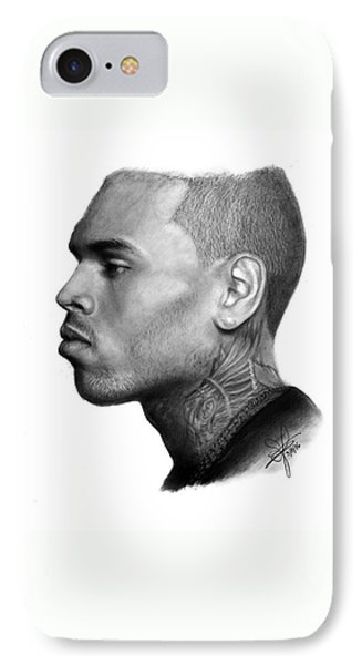 Chris Brown Drawing By Sofia Furniel IPhone Case