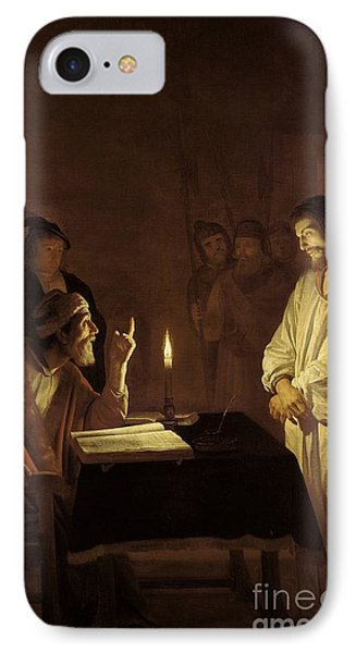 Christ Before The High Priest IPhone Case by Gerrit van Honthorst