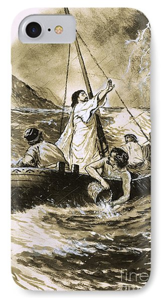 Christ Calming The Storm IPhone Case by Clive Uptton