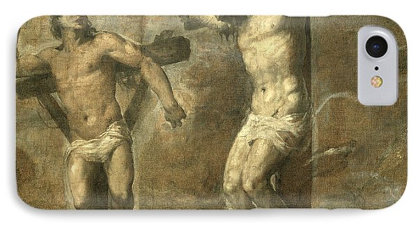 Christ On The Cross And The Good Thief IPhone Case by Titian