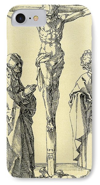 Christ On The Cross With Mary And John The Baptist IPhone Case by Albrecht Durer