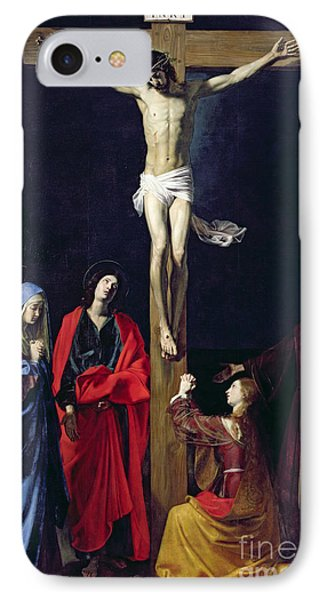 Christ On The Cross With The Virgin Mary Magdalene St John And St Francis Of Paola IPhone Case by Nicolas Tournier