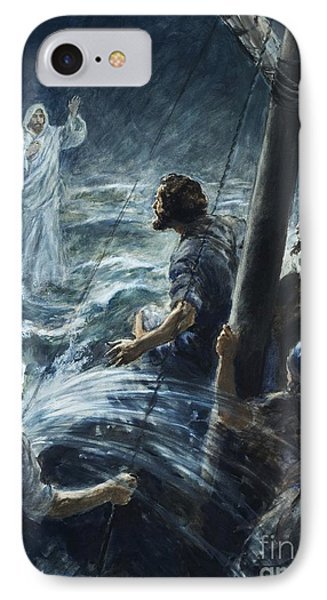Christ Walking On The Sea Of Galilee IPhone Case by Henry Coller