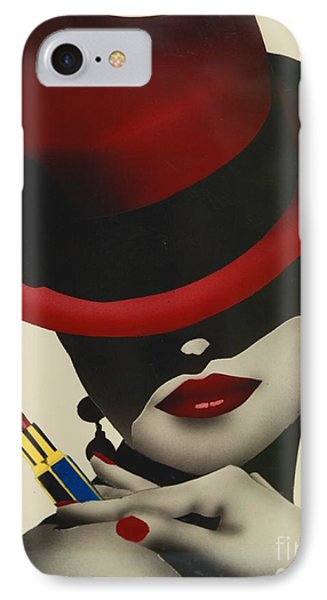Christion Dior Red Hat Lady IPhone Case by Jacqueline Athmann