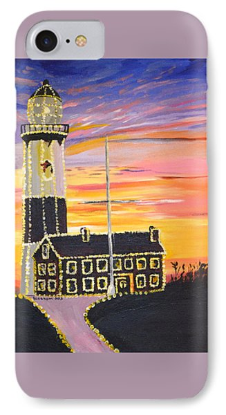 Christmas At The Lighthouse Phone Case by Donna Blossom