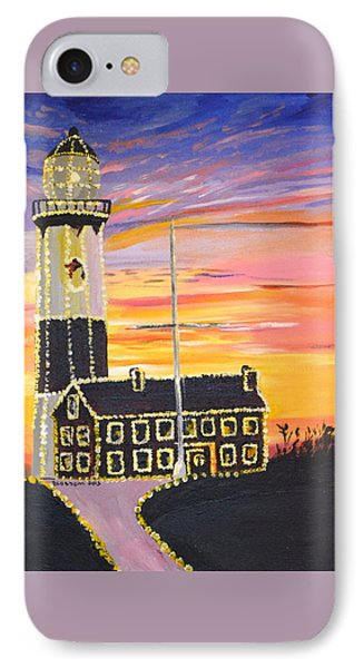 IPhone Case featuring the painting Christmas At The Lighthouse by Donna Blossom