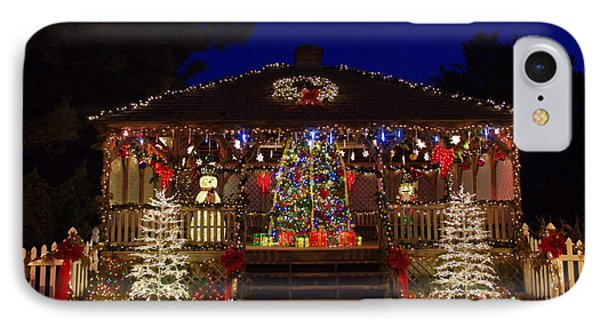Christmas At The Lighthouse Gazebo IPhone Case by Greg Graham