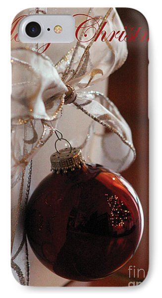 Christmas Ball And Bow IPhone Case by Alycia Christine