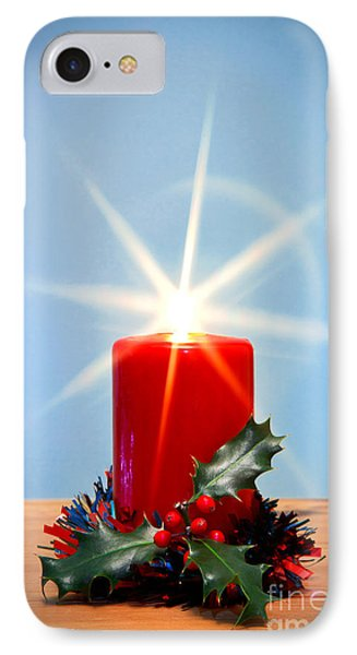 Christmas Candle With Starburst And Holly. IPhone Case by Richard Thomas
