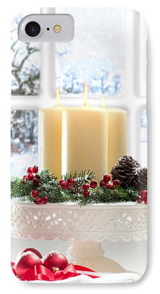 Christmas Candles Display IPhone Case by Amanda Elwell