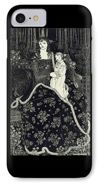 Christmas Card IPhone Case by Aubrey Beardsley
