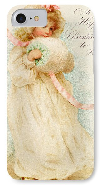 Christmas Card Depicting A Girl With A Muff IPhone Case