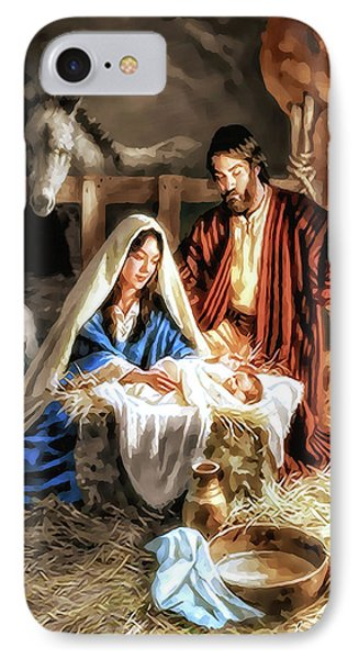 Christmas Card - Mary And Joseph IPhone Case by Pennie  McCracken