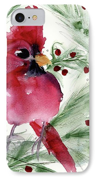 IPhone Case featuring the painting Christmas Cardinal by Dawn Derman