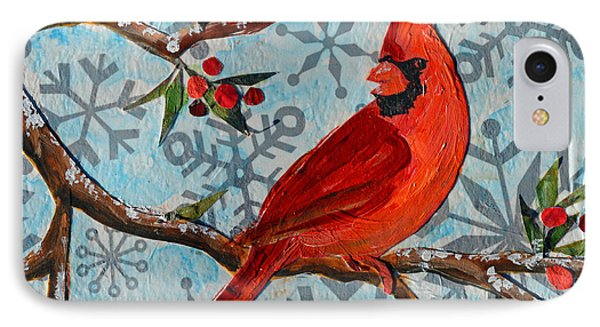 Christmas Cardinal IPhone Case by Li Newton