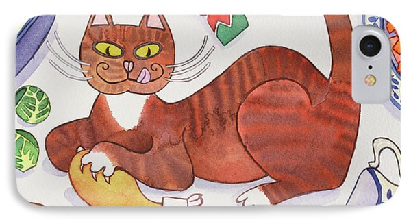 Christmas Cat And The Turkey IPhone Case by Cathy Baxter