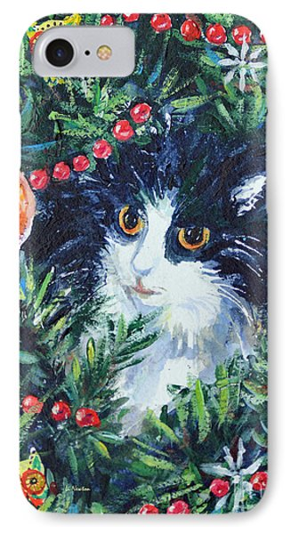 Christmas Catouflage IPhone Case by Li Newton