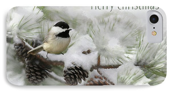 IPhone Case featuring the photograph Christmas Chickadee by Lori Deiter