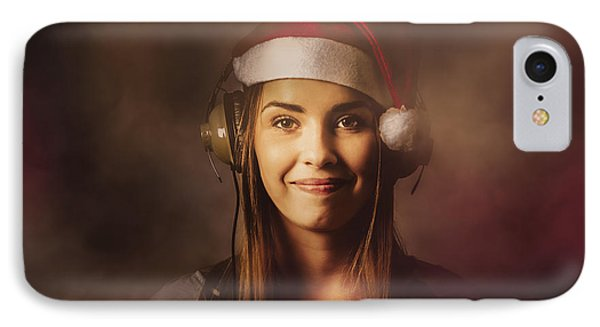 IPhone Case featuring the photograph Christmas Disco Dj Woman by Jorgo Photography - Wall Art Gallery
