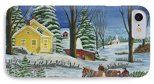Christmas Eve In The Country IPhone Case by Charlotte Blanchard