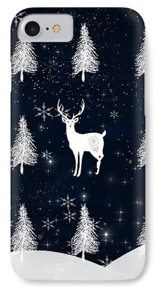 Christmas Eve Stag IPhone Case by Amanda Lakey
