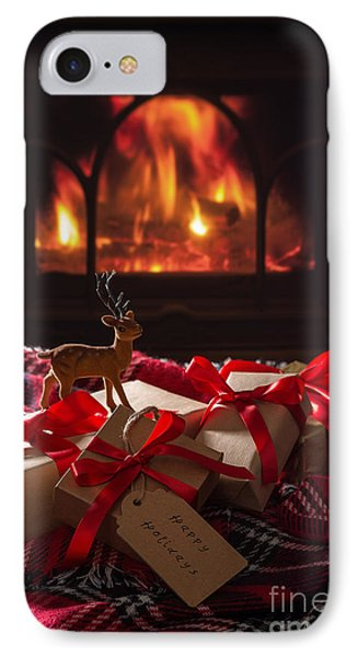 Christmas Gifts By The Fire IPhone Case by Amanda Elwell