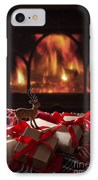 Christmas Gifts By The Fireplace IPhone Case by Amanda Elwell