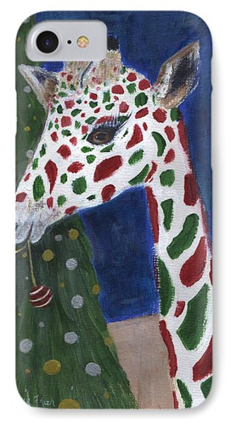 IPhone Case featuring the painting Christmas Giraffe by Jamie Frier