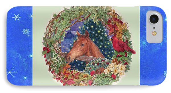 IPhone Case featuring the painting Christmas Horse And Holiday Wreath by Judith Cheng