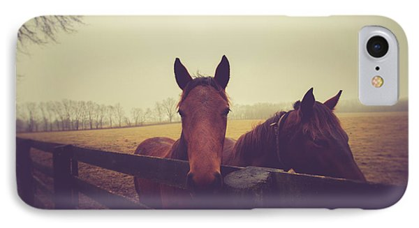 IPhone Case featuring the photograph Christmas Horses by Shane Holsclaw