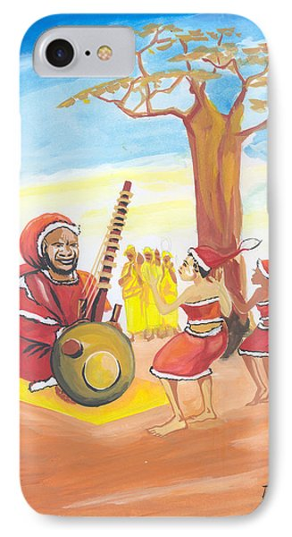 IPhone Case featuring the painting Christmas In Senegal by Emmanuel Baliyanga