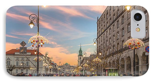 Christmas Lights In Warsaw IPhone Case by Julis Simo