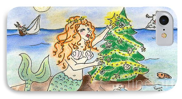 IPhone Case featuring the drawing Christmas Mermaid by Vonda Lawson-Rosa