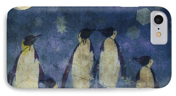 Penguin iPhone 7 Case - Christmas Moon  by Paul Lovering