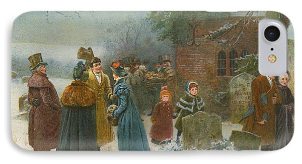Christmas Morning  Neighbourly Greetings, And Doles To The Poor And Needy IPhone Case by Edward Frederick Brewtnall