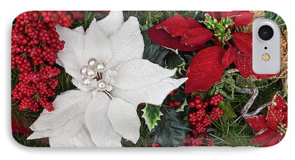 Christmas Poinsettias And Berries IPhone Case by Diane Macdonald