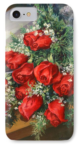 Christmas Red Roses IPhone Case by Laurie Hein