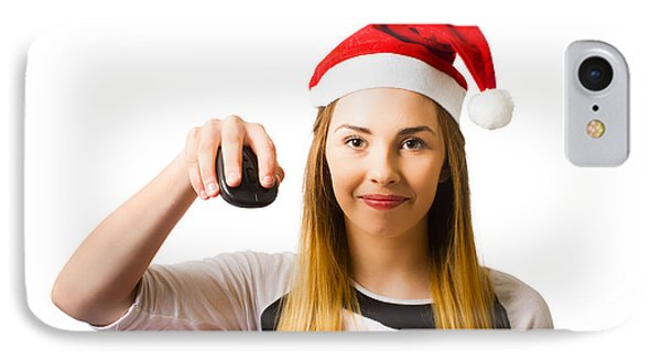 Christmas Shopping Girl Browsing Internet For Gift IPhone Case by Jorgo Photography - Wall Art Gallery