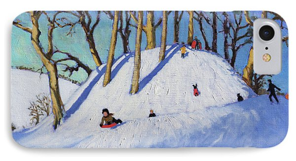 Christmas Sledging  IPhone Case by Andrew Macara
