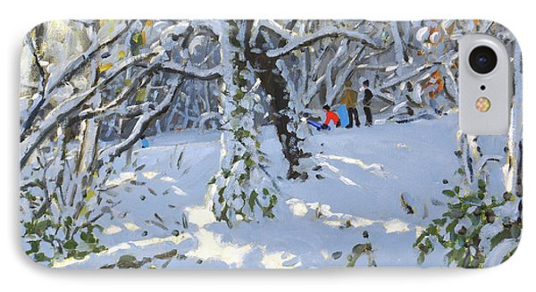 Christmas Sledging In Allestree Woods IPhone Case by Andrew Macara