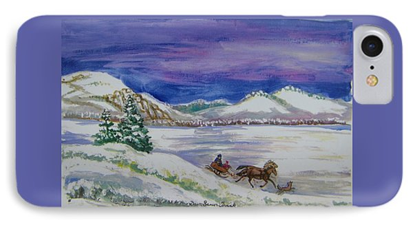 IPhone Case featuring the painting Christmas Sleigh by Dawn Senior-Trask