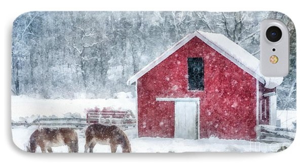 Christmas Snowstorm Vermont Watercolor IPhone Case by Edward Fielding