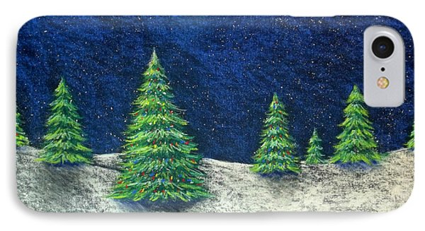 Christmas Trees In The Snow Phone Case by Nancy Mueller