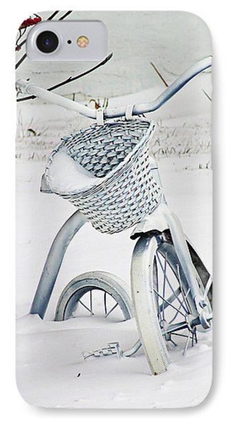 Christmas Tryke In White No Text  IPhone Case by Maggie Terlecki