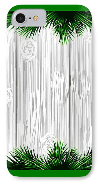Christmas White Wooden Background With Green Fir Branches. Vector Illustration IPhone Case by Anastasia Bogoiavlenskaia